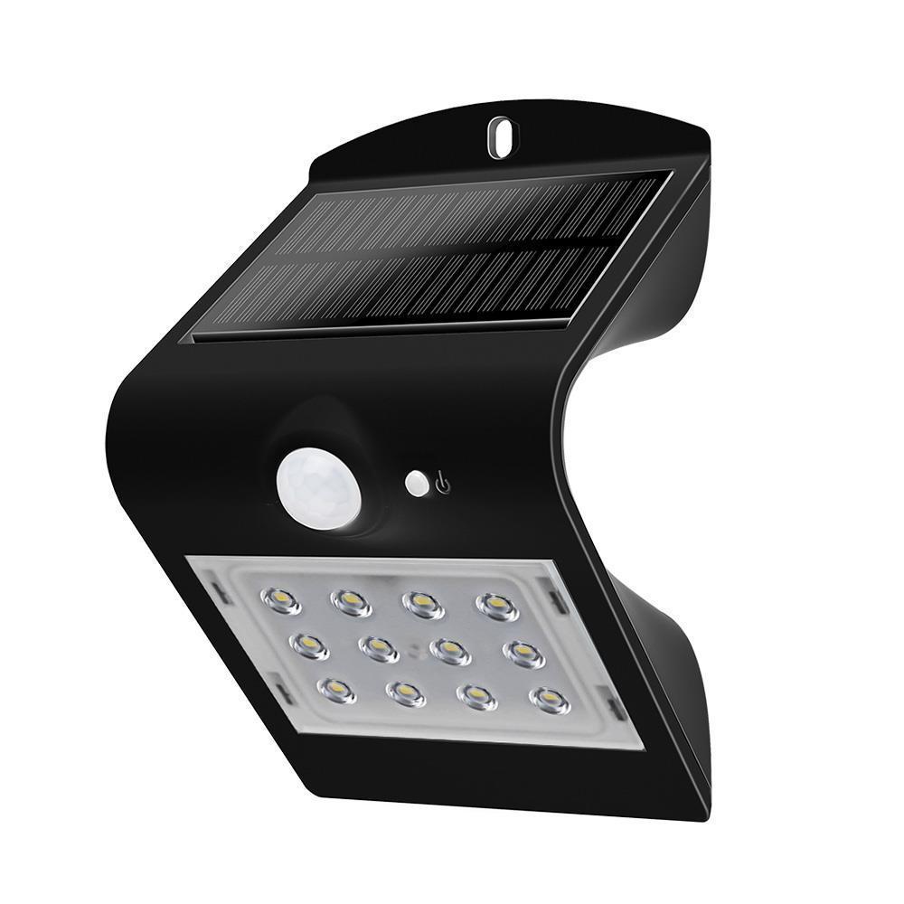 Kinkiet Solarny 1.5W LED  4000K Czarny 220lm