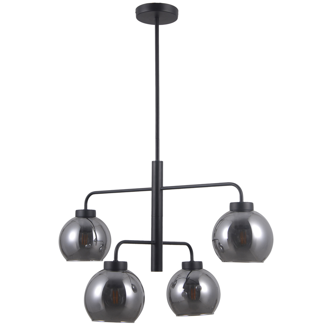Czarna Lampa Wisząca Poggi E27 4-punktowa
