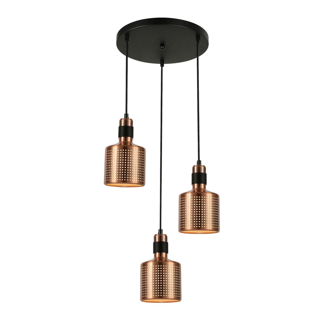 Miedziana Lampa Wisząca Restenza E27 3-punktowa