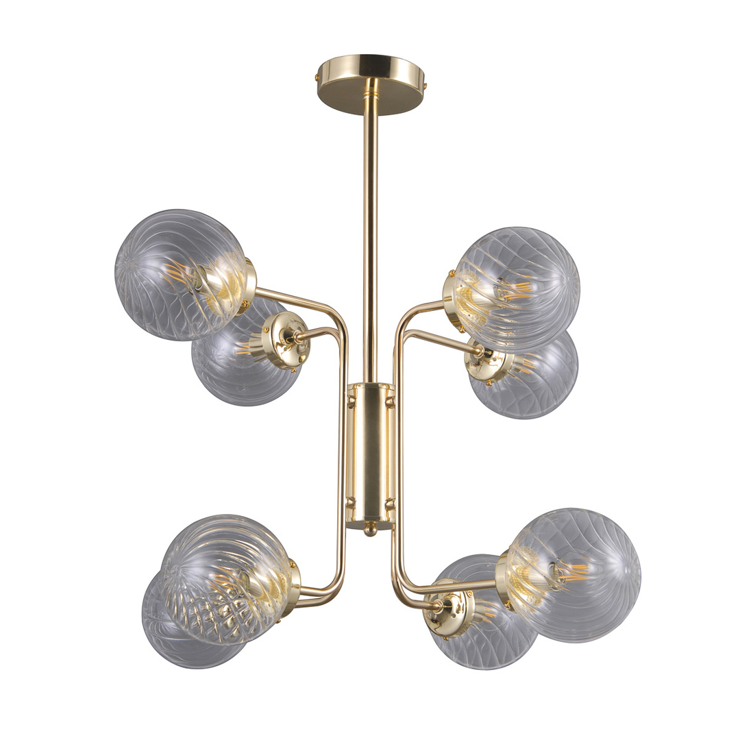 Złota Lampa Wisząca Bartolo E14 8-punktowa