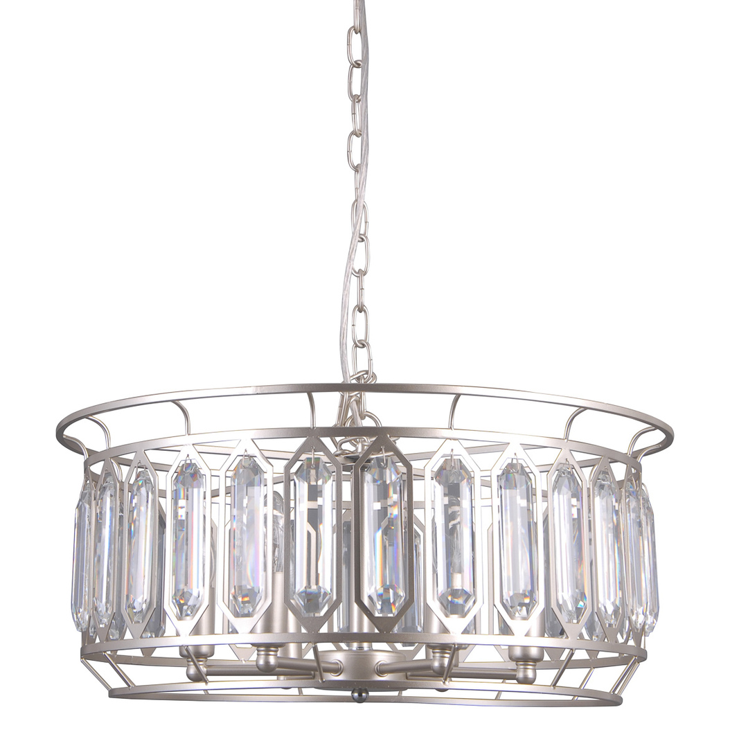 Srebrna Lampa Wisząca Priscilla E14 6-punktowa