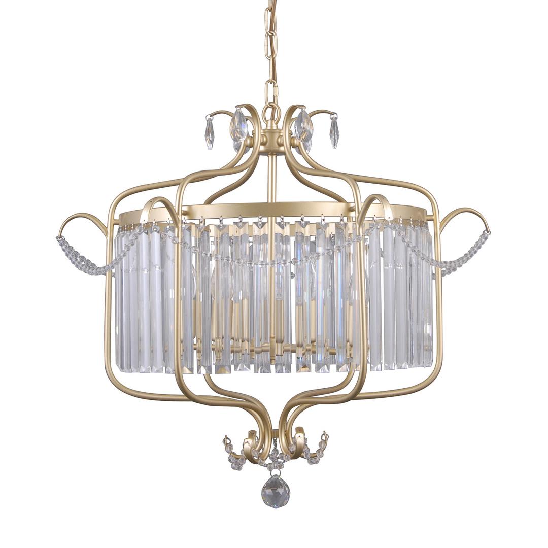 Złota Lampa Wisząca z Kryształkami Rinaldo E14 6-punktowa