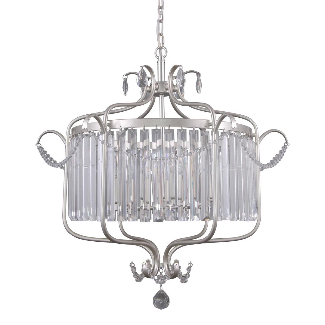 Srebrna Lampa Wisząca z Kryształkami Rinaldo E14 6-punktowa