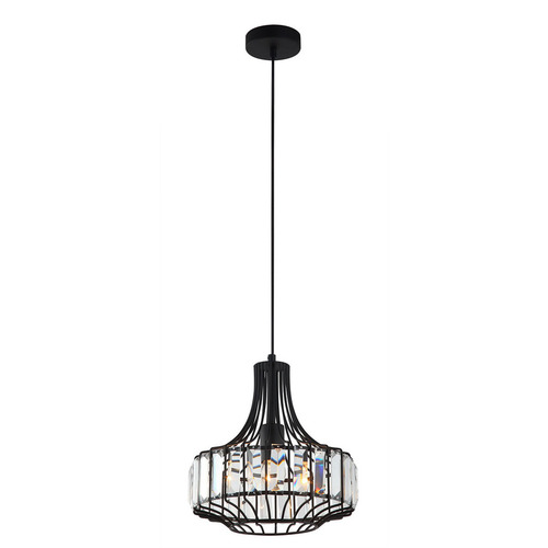 Czarna Lampa Wisząca Sawin E27