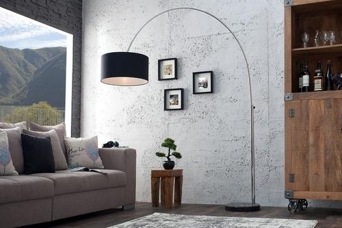 INVICTA Lampa podłogowa SLACK czarna - marmur, metal