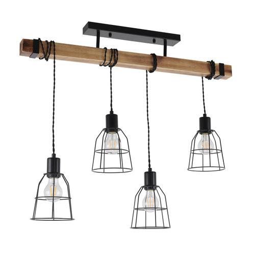 Czarna lampa wisząca PONTE Italux PND-4290-4-L