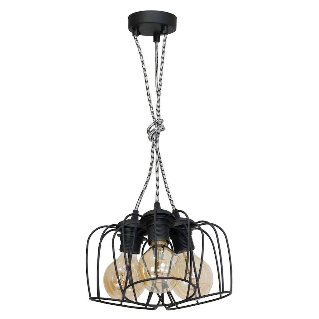 Czarna Lampa Wisząca Vintage 3x E27