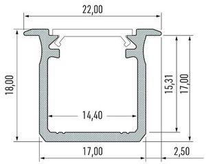 Profil Aluminowy Sresbrny Typ G 2m + Klosz Mleczny small 1