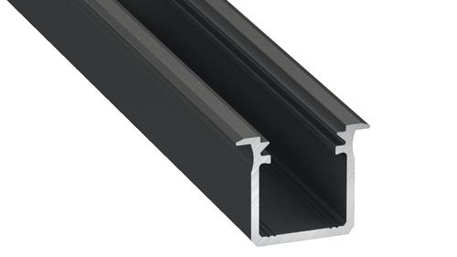 Profil Aluminowy Czarny Typ G 1m + Klosz Mleczny