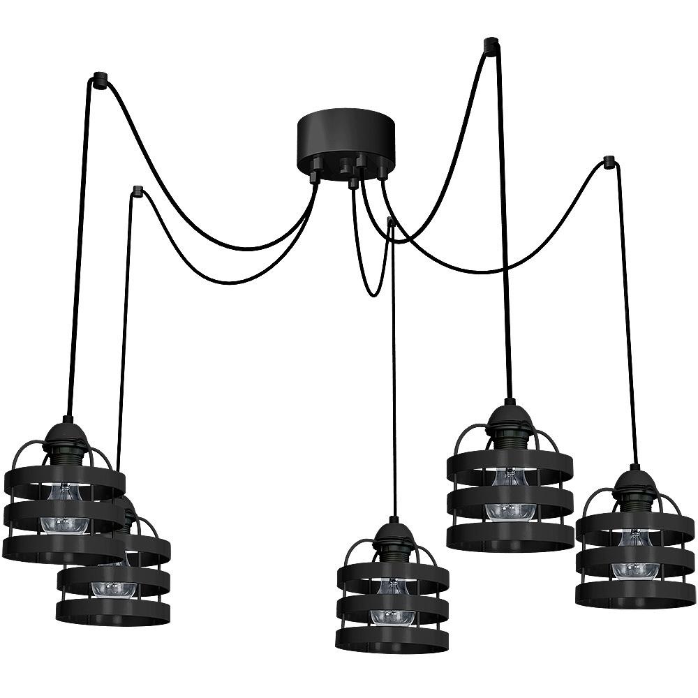 Czarna Lampa Wisząca Lars Black 5x E27